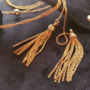 Breathtaking Gold Tassels Long Adjustable Necklace